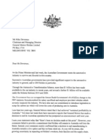 Letter from Deputy PM Warren Truss to Holden general manager Mike Devereux