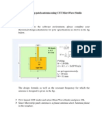 Design of a Microstrip Patch Antenna Using CST MicroWave Studio