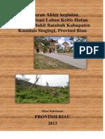 Laporan Akhir Kegiatan Inventarisasi Lahan Kritis Hutan Lindung Bukit Batabuh Kabupaten Kuantan Singingi