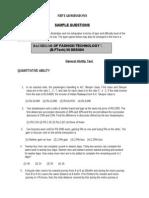 Nift Tech Sample Paper