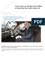 Federal Government Calls on Holden Boss Mike Devereux to Give Australia the Truth About Its Future _ News.com