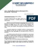 Communiqué de presse Bilan du Maire
