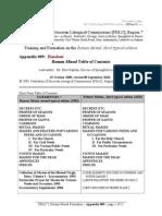 Appendix 009 Roman Missal Table of Contents