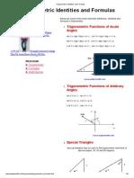 Trigonometric Identities and Formulas
