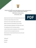 Full speech – Tribute by President Jacob Zuma delivered at the memorial service in honour of former president Nelson Mandela