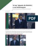 Mandela foi um 'gigante da história', diz Obama em homenagem