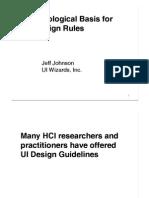 Jeff Johnson - Psychological Basis for UI Design Rules