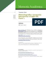 Traverso, E. - Historiografia y Memoria. Interpretar El Siglo XX. Parte 1 [2011]