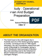Case Study operational planning and budget preparation