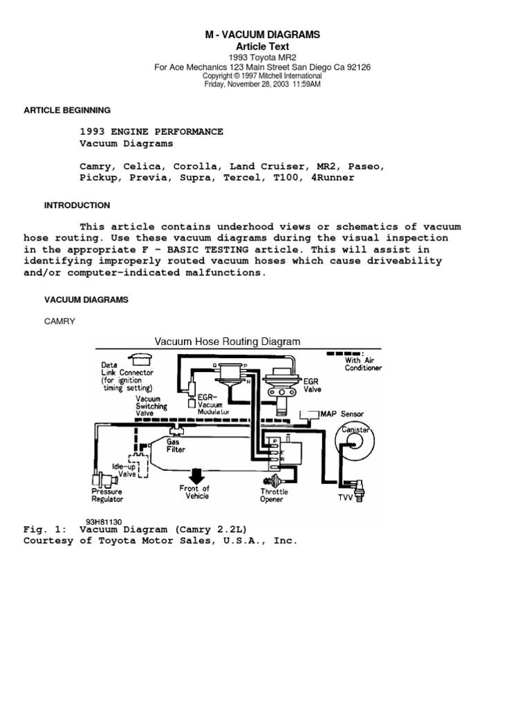 [DIAGRAM_5LK]  1993 Toyota Vacuum Diagrams | Toyota | Rear Wheel Drive Vehicles | 1991 Mr2 Engine Diagram |  | Scribd