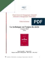 Ellul La Technique Ou l'Enjeu Du Siecle - Fiche de Lecture