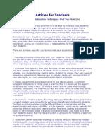 Articles for Teachers