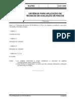 N-2782 - Critérios para aplicação de técnicas de avaliação de riscos - Ago 2005