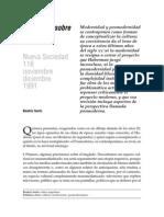 Sarlo,B. Un Debate Sobre La Cultura.modernidad y Posmodernidad