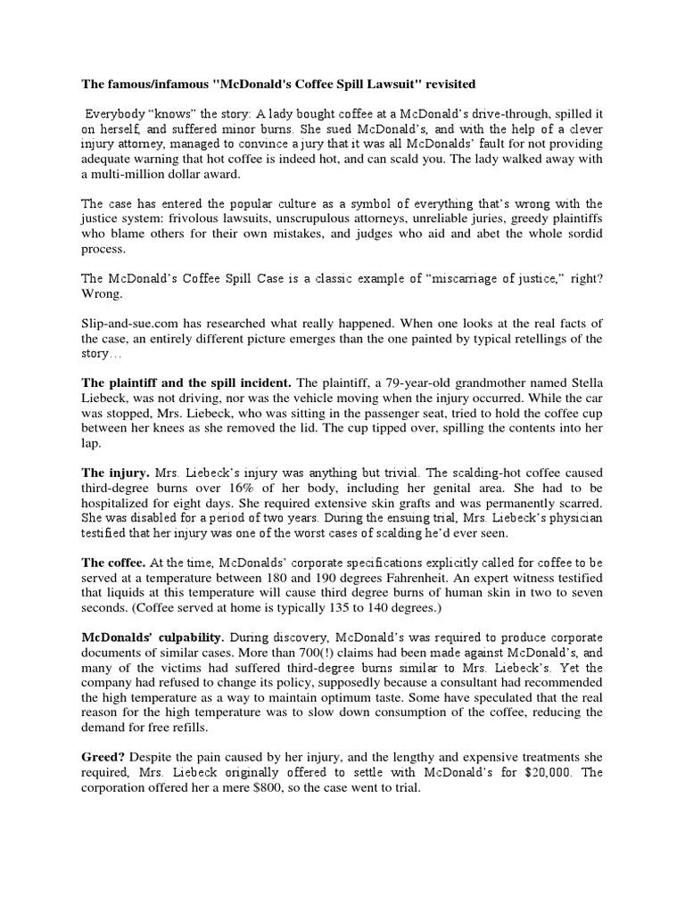 Mc donalds coffee case litigation government biocorpaavc Choice Image