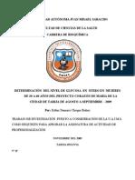 Determinacion Del Nivel de Glucosa en Suero en Mujeres de PROY CORAZO 2009