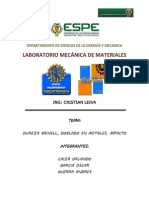 Informe Dureza Brinell, Doblado en Metales, Impacto