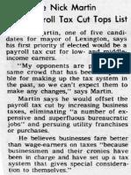 Candidate Nick Martin says payroll tax cut tops list