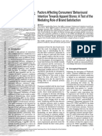 Factors Affecting Consumers Behavioural Intention Towards Apparel...