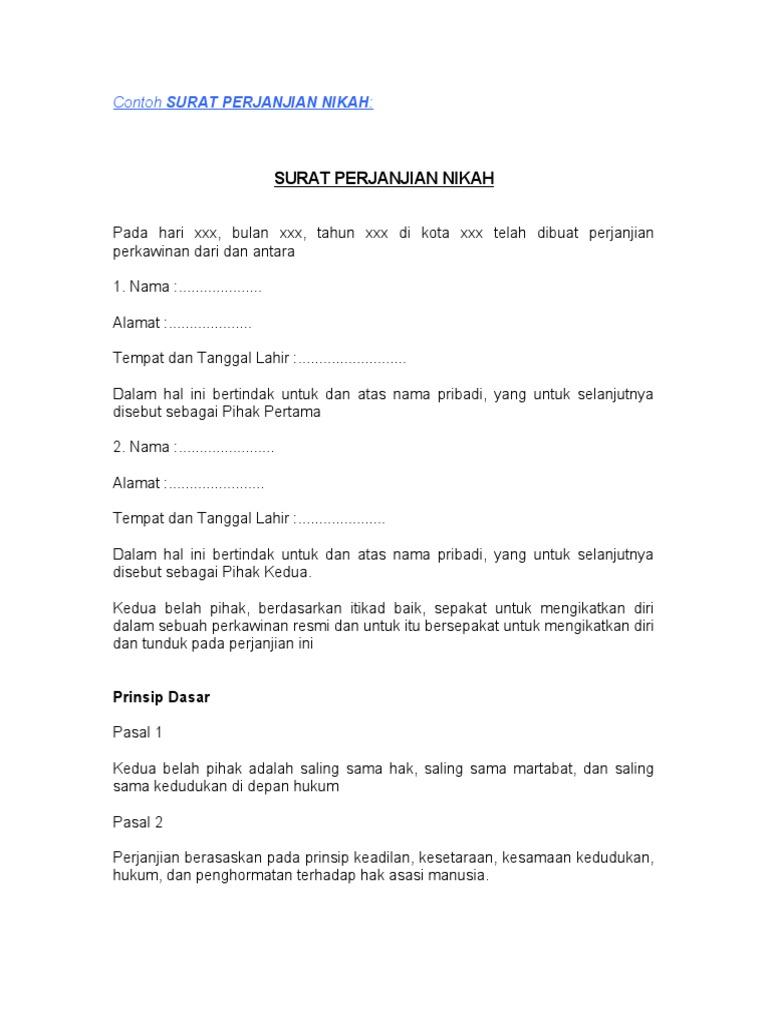 contoh surat perjanjian nikah