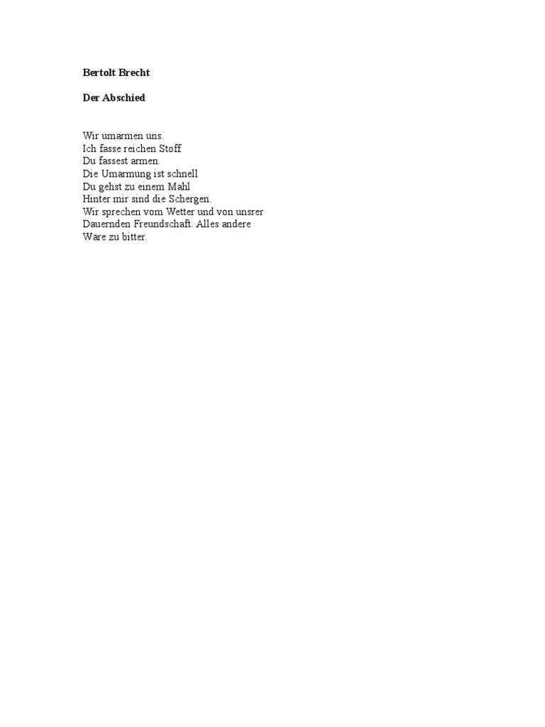 Bertolt Brecht Liebesgedichte Der Abschied