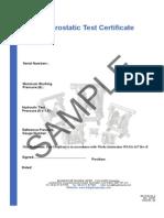Hydrostatic Test Certificate
