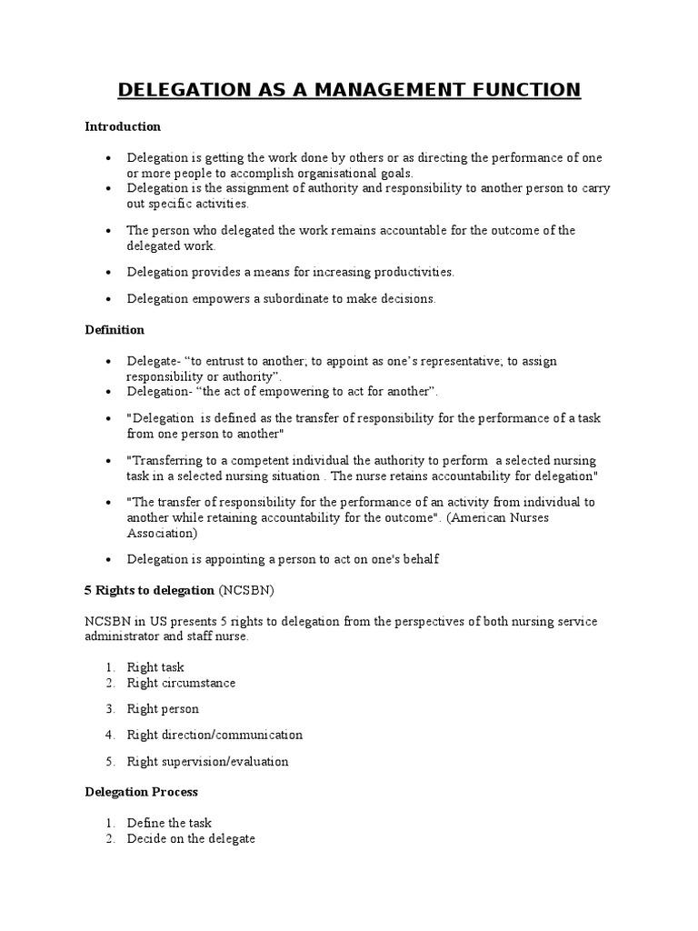 delegation as a management function | nursing | behavioural sciences