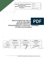 Regulament de Organizare Si Functionare a Departamentului Managementului Calitatii - Control Intern Managerial
