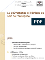La gouvernance et l'éthique d'entreprise