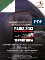 Rapport de Veille Salon-3D Print Show 2013