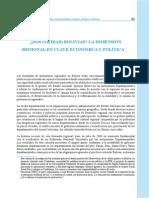 ¿Dos (medias) Bolivias? La dimensión regional en clave económica y política