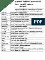 Tentative Calendar Revised