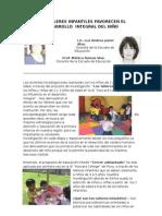 LOS TALLERES INFANTILES FAVORECEN EL DASARROLLO  INTEGRAL DEL NIÑO