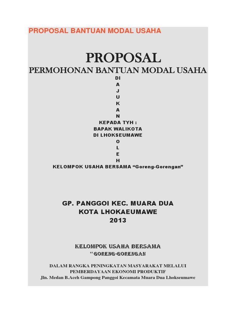 Contoh Proposal Bantuan Dana Usaha Kecil Perorangan Berbagai Contoh