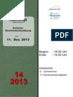 Aus den Eslarner Gemeinderatssitzungen - Mitschrift v. 11.12.2013