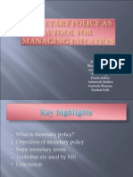 Monetary policy as a tool for managing inflation