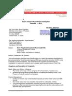 Notice to Prime Prep Academy (Special Accreditation Investigation)