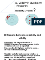 Reliability and Validity Examples