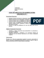 Guia ejercicio de nomenclatura organica Nº 1