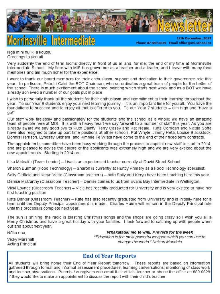 Newsletter 121213 Christmas Teachers