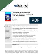 John Adairs 100 Greatest Ideas for Effective Leadership e