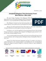 Arangkada Forum 2014 - Press Release