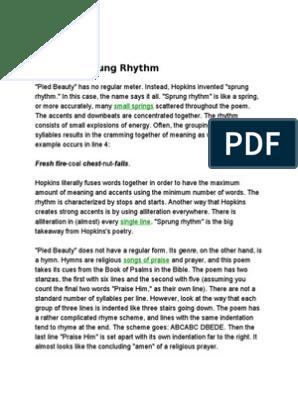 Hymn In Sprung Rhythm Metre Poetry Poetic Devices