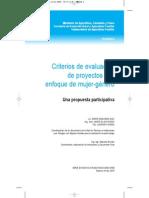 Criterios para evaluación de proyectos con enfoque de mujer-género