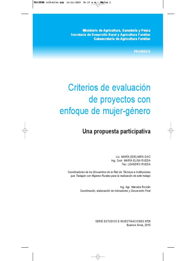 Criterios para evaluación de proyectos con enfoque de mujer-género ...