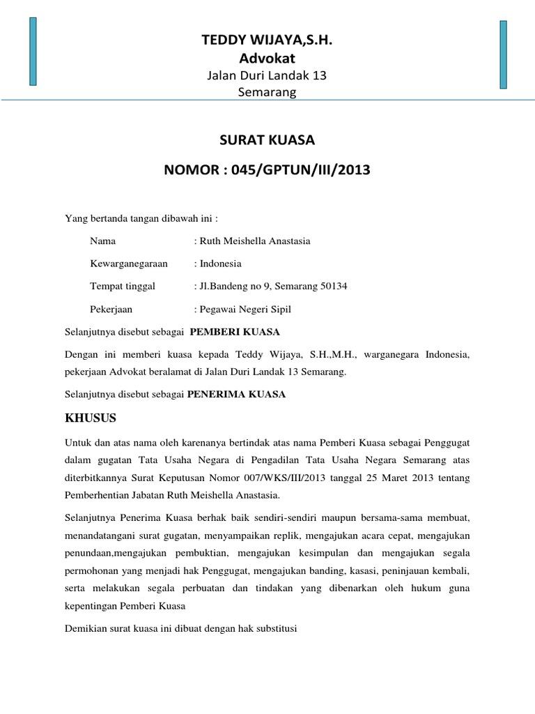 Contoh Surat Kuasa Substitusi Dalam Ptun - Kumpulan Contoh ...