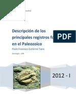 Descripción de los principales registros fósiles en el Paleozoico