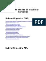 Guvernul Romaniei Subventii