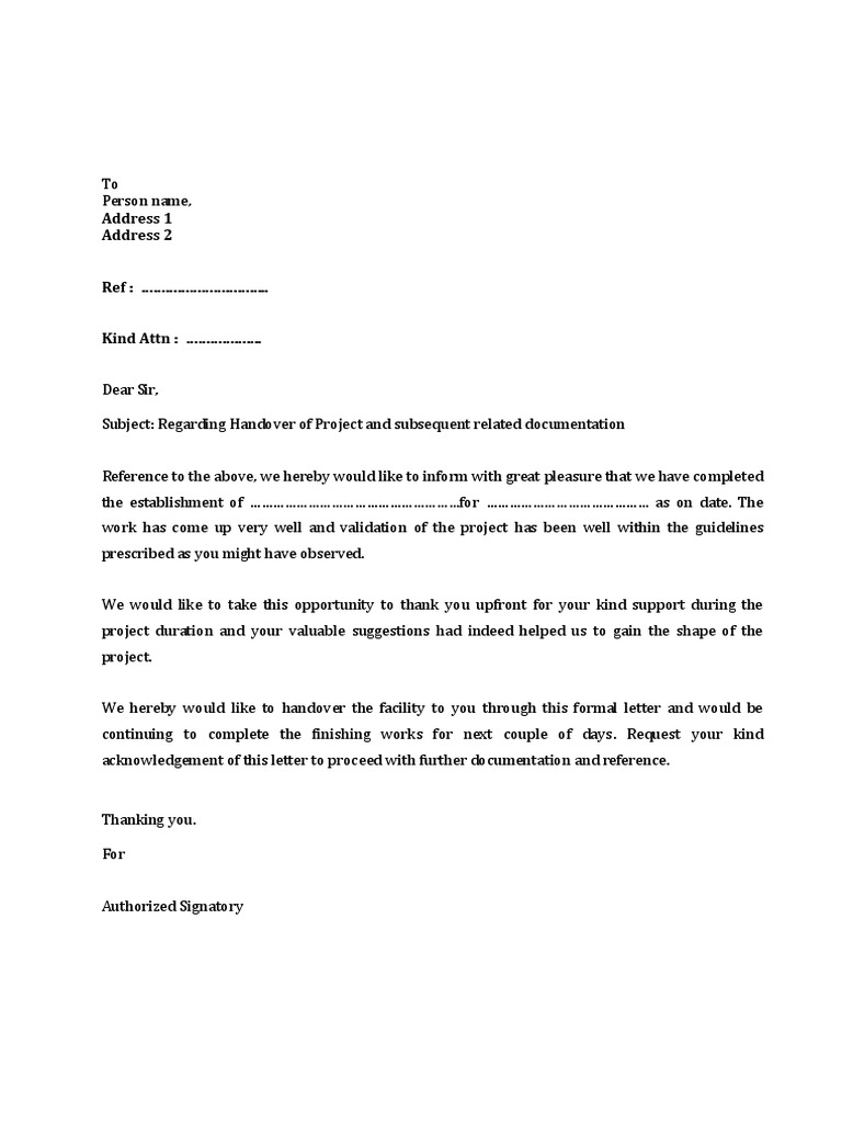 131212 project handover letter draft for Handing over notes template