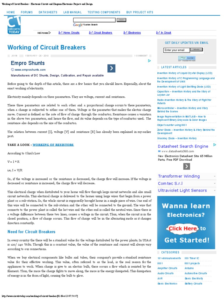working of circuit breakers electronic circuits and diagram rh es scribd com